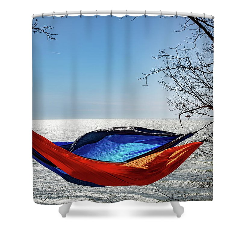 Background Shower Curtain featuring the photograph Hammocks In Spring by Anton Shelepov