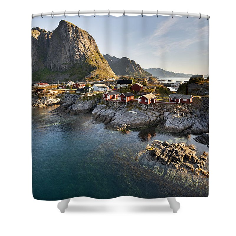 Fjord Shower Curtain featuring the photograph Hamnoy Island by Jacek Kadaj