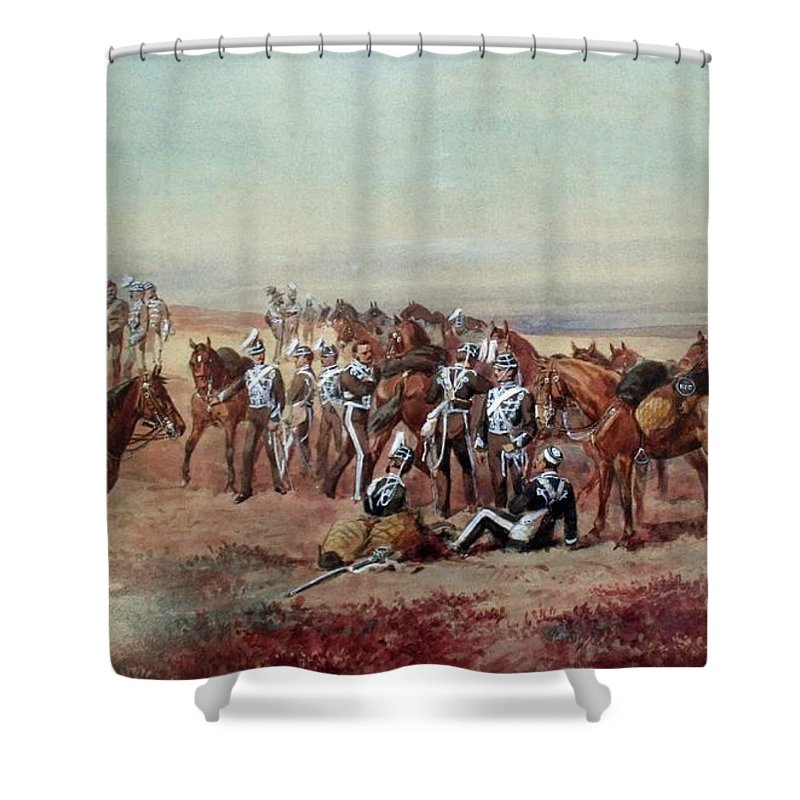 Orlando Norie - Hampshire Yeomanry Cavalry Shower Curtain featuring the painting Hampshire Yeomanry Cavalry by MotionAge Designs