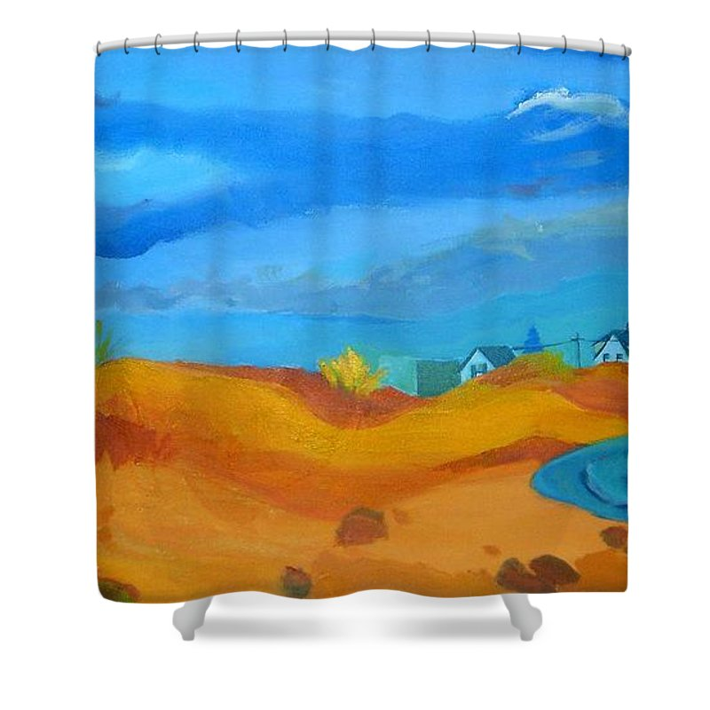 Ocean Shower Curtain featuring the painting Hampton Dunes by Debra Bretton Robinson