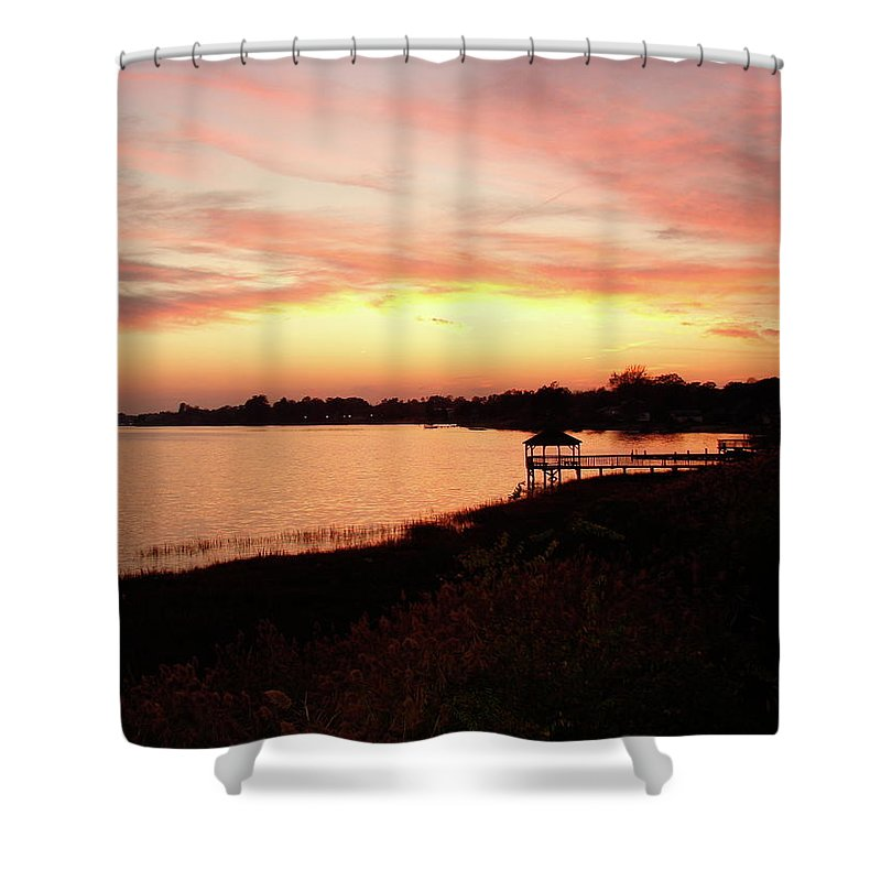 Hampton Shower Curtain featuring the photograph Hampton Virginia Sunset by Brett Winn
