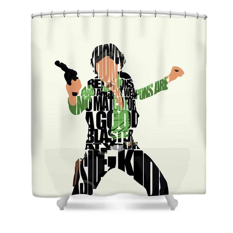 Han Solo Shower Curtain featuring the painting Han Solo from Star Wars by Inspirowl Design
