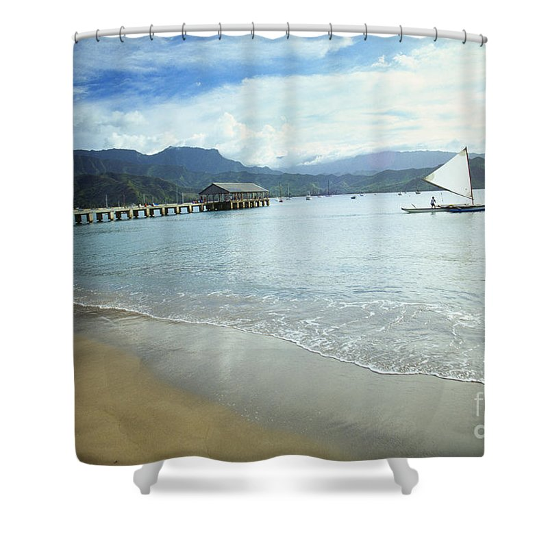 Bali Hai Shower Curtain featuring the photograph Hanalei Bay Outrigger by Peter French - Printscapes