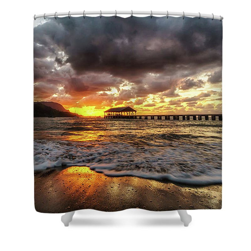 Beach Shower Curtain featuring the photograph Hanalei Pier Reflections by David Kulp