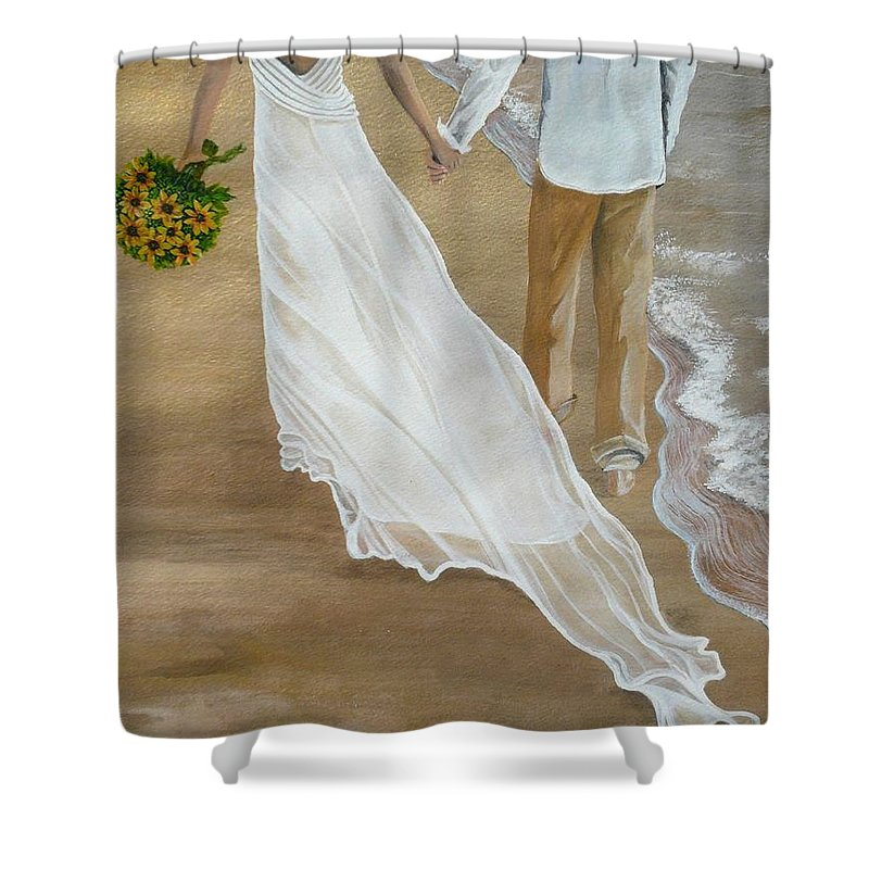 Bride And Groom Shower Curtain featuring the painting Hand In Hand by Kris Crollard