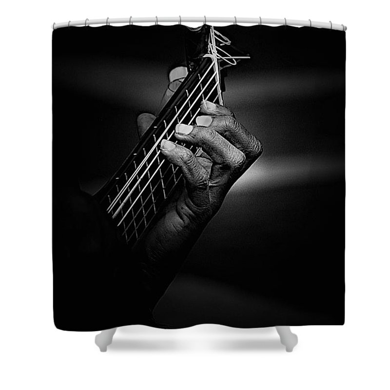 Guitar Shower Curtain featuring the photograph Hand Of A Guitarist In Monochrome by Sheila Smart Fine Art Photography