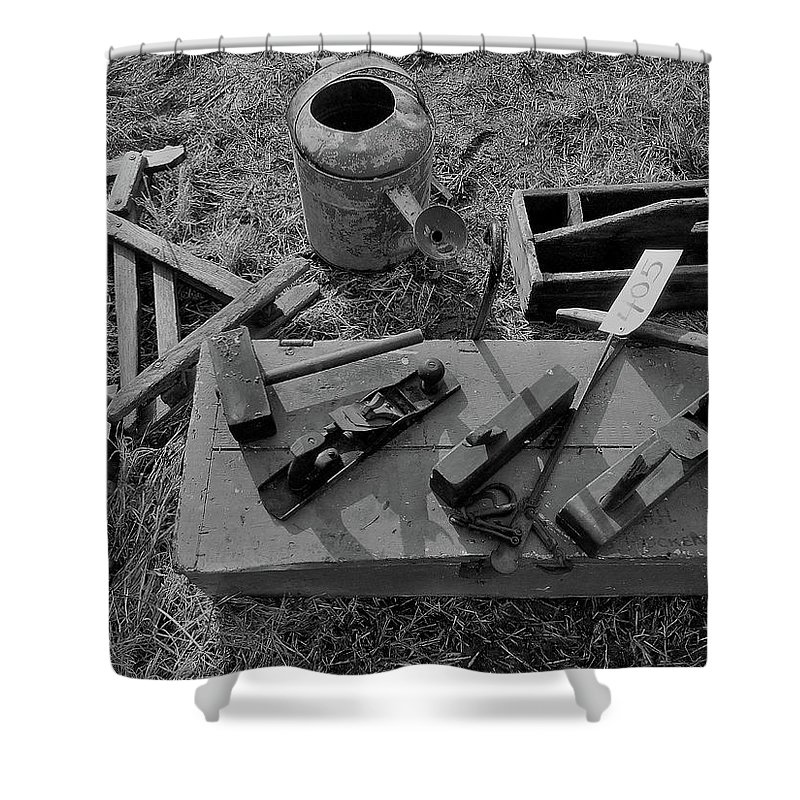 Farm Auction Shower Curtain featuring the photograph Hand Tool Box Bw by Mark Victors