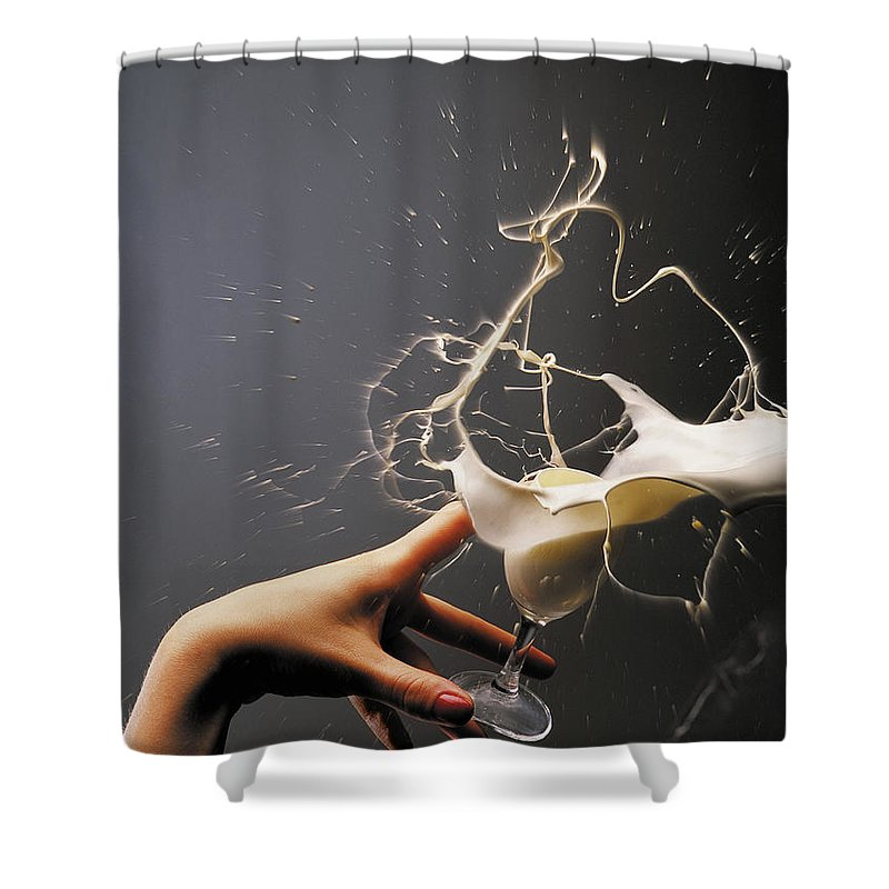 Glass Of Liqueur Shower Curtain featuring the photograph Hand With The Flying Glass Of Liqueur by Evgeniy Lankin