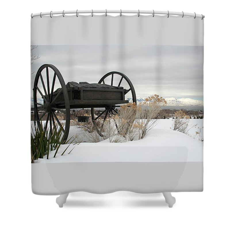Handcart Shower Curtain featuring the photograph Handcart Monument by Margie Wildblood