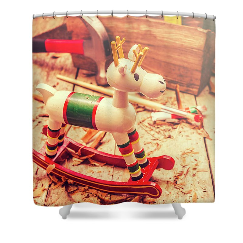 Rocking Shower Curtain featuring the photograph Handmade Xmas Rocking Toy by Jorgo Photography - Wall Art Gallery