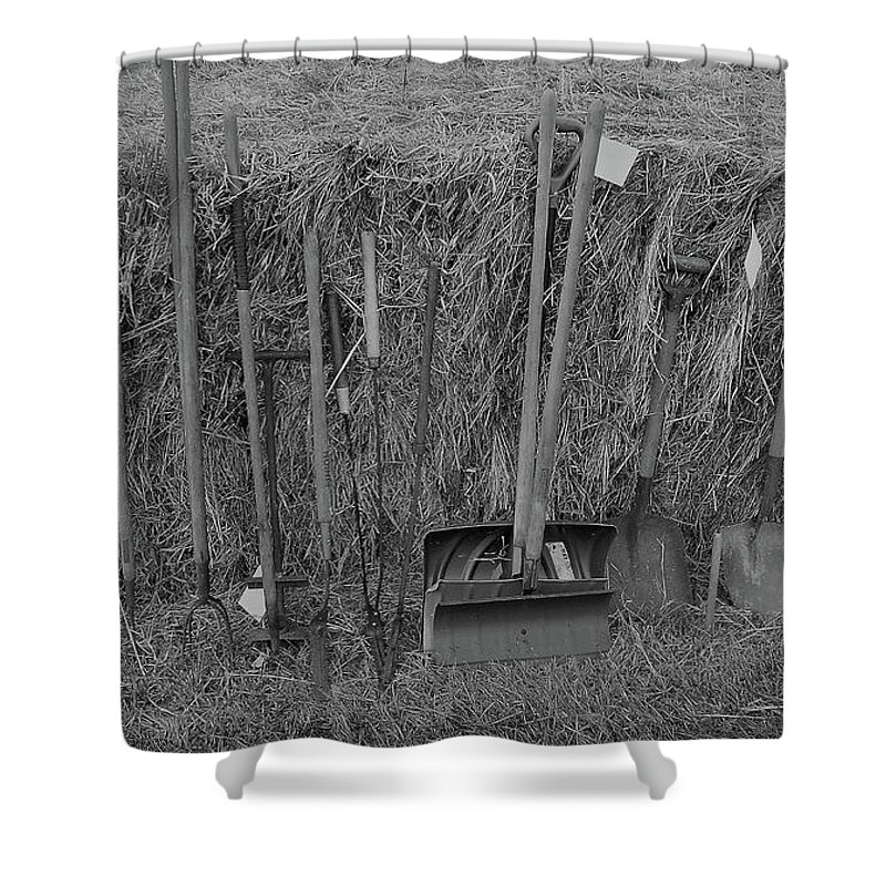 Farm Auction Shower Curtain featuring the photograph Handtools Bw by Mark Victors