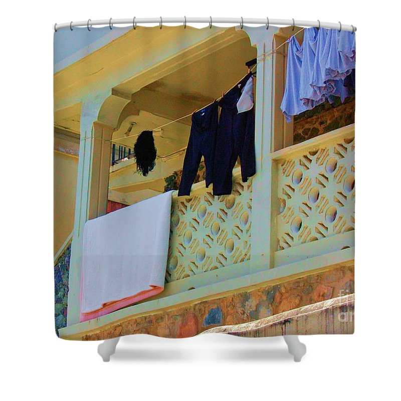 Laundry Shower Curtain featuring the photograph Hang Em High by Debbi Granruth