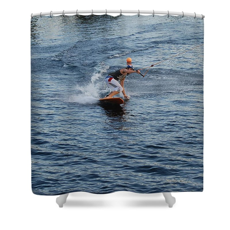 Waves Shower Curtain featuring the photograph Hanging 15 by Rob Hans