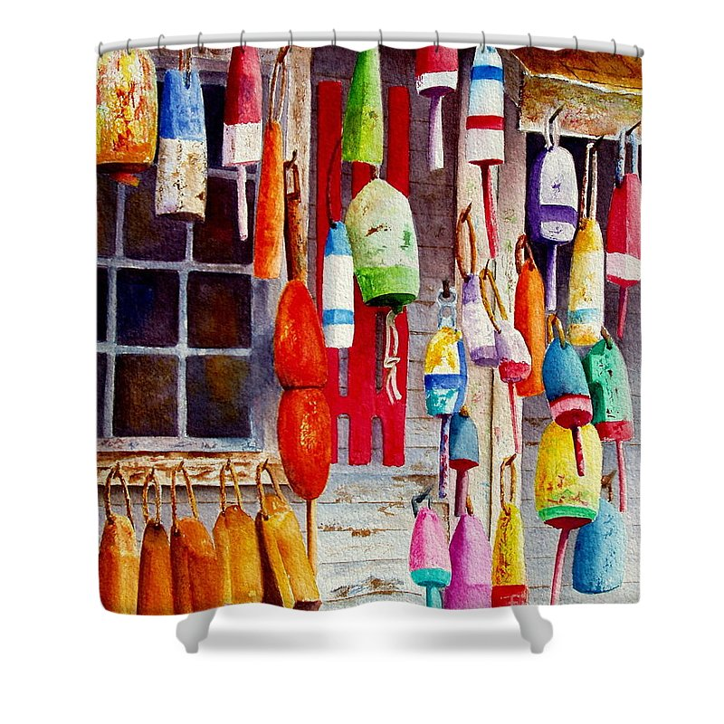 Lobster Shower Curtain featuring the painting Hanging Around by Karen Fleschler
