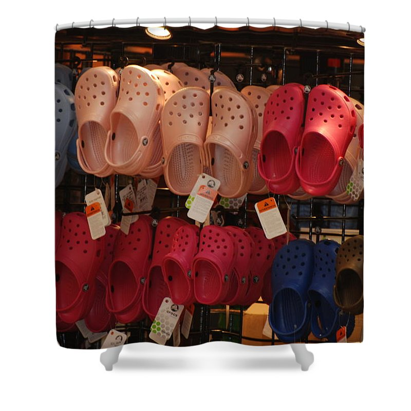 Pop Art Shower Curtain featuring the photograph Hanging Crocs by Rob Hans