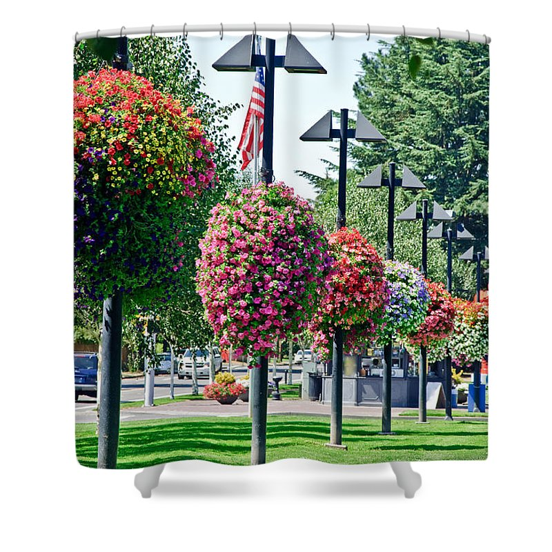 Beaverton Shower Curtain featuring the photograph Hanging Flower Baskets In A Park by Lee Serenethos