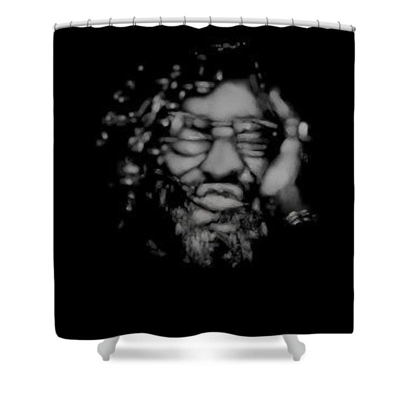 Man Shower Curtain featuring the digital art Hangover by Lori Wadleigh