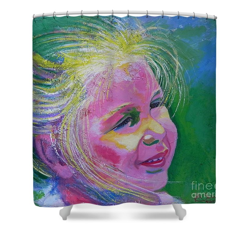 Face Shower Curtain featuring the painting Hanna 2 by Jolanta Shiloni