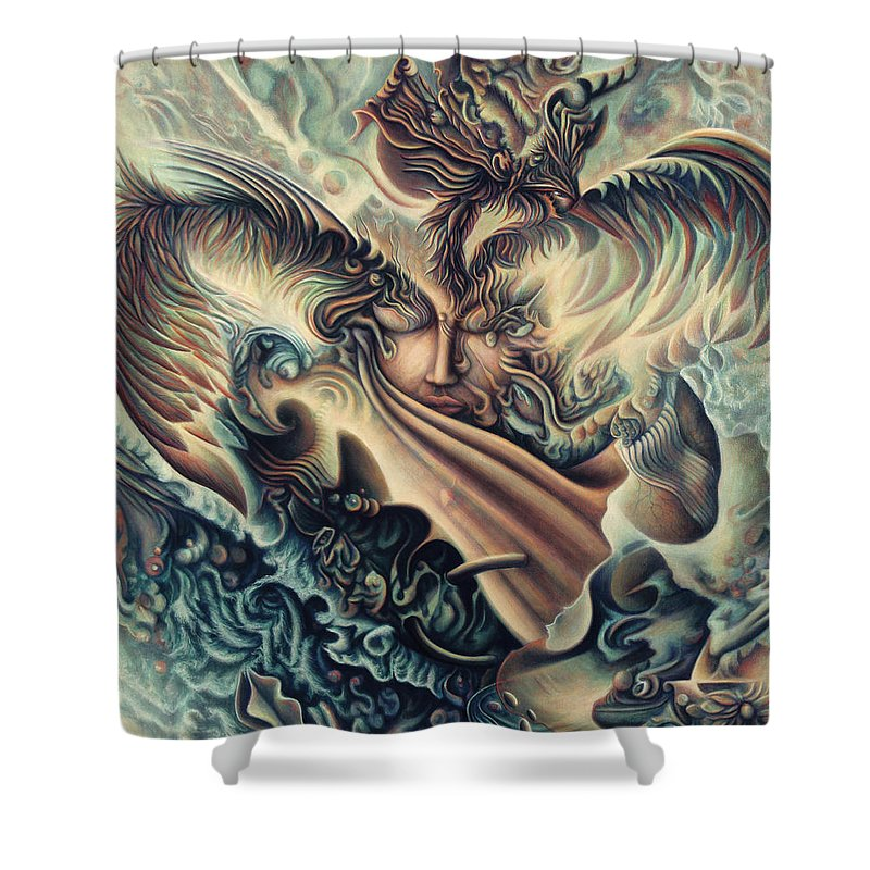 Spiritual Shower Curtain featuring the painting Hansa Swann by Nad Wolinska