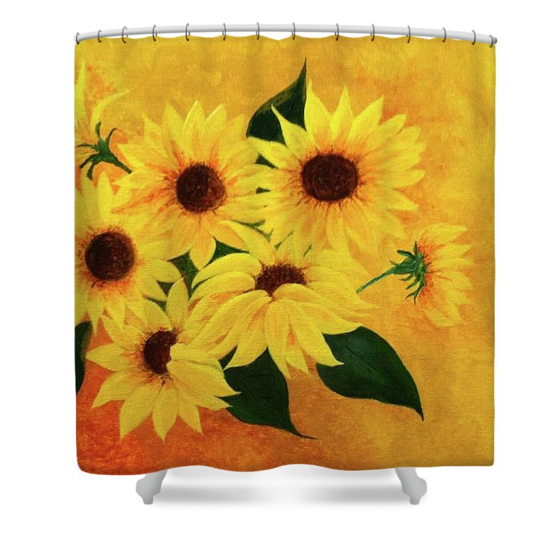 Yellow Shower Curtain featuring the painting Happiness by Alice Blue