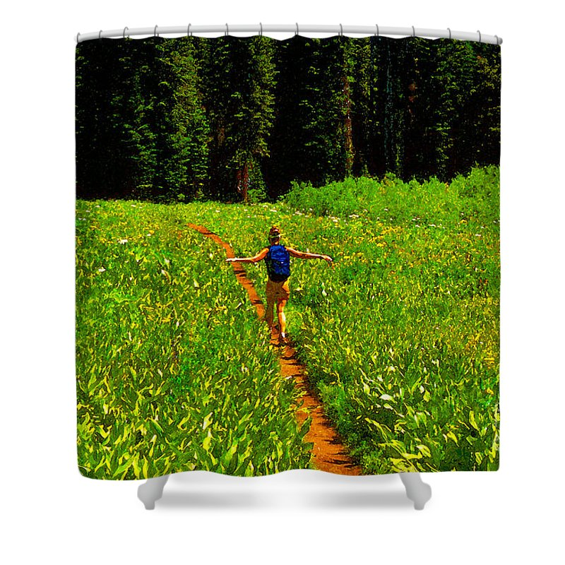 Hiking Shower Curtain featuring the painting Happiness Is A Trail by David Lee Thompson