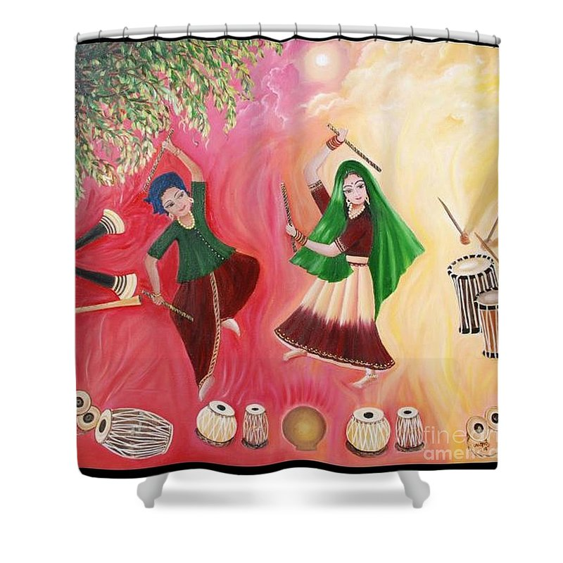 Figurative Shower Curtain featuring the painting Happiness by Usha Rai