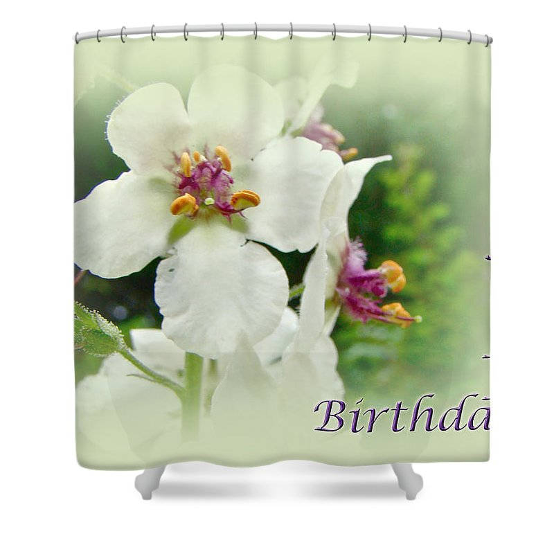 happy Birthday Shower Curtain featuring the photograph Happy Birthday - Floral - Moth Mullein by Mother Nature