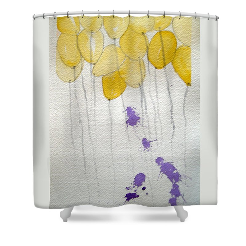 Balloon Celebrate Fun Happy Play Birthday Shower Curtain featuring the painting Happy Birthday Ashleigh by Patricia Caldwell
