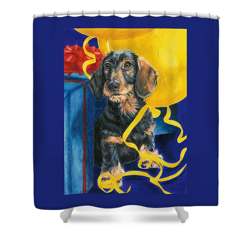 Dogs Shower Curtain featuring the drawing Happy Birthday by Barbara Keith