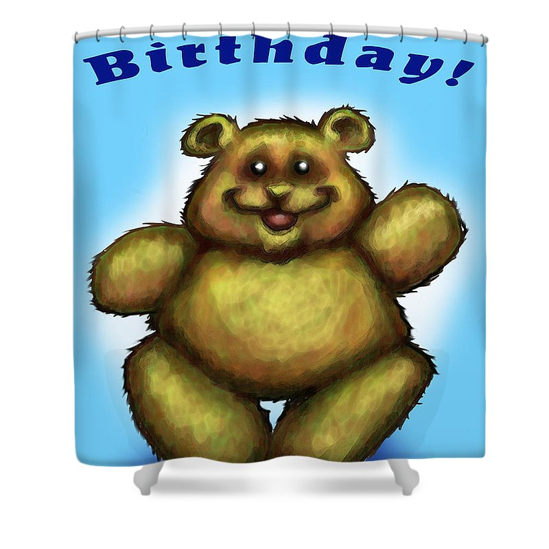 Happy Birthday Shower Curtain featuring the greeting card Happy Birthday Bear by Kevin Middleton
