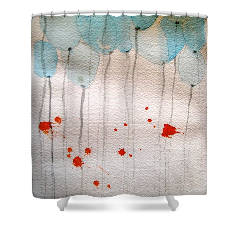 Balloon Celebrate Fun Happy Play Shower Curtain featuring the painting Happy Birthday Katherine by Patricia Caldwell
