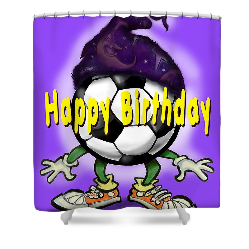 Soccer Shower Curtain featuring the greeting card Happy Birthday Soccer Wizard by Kevin Middleton