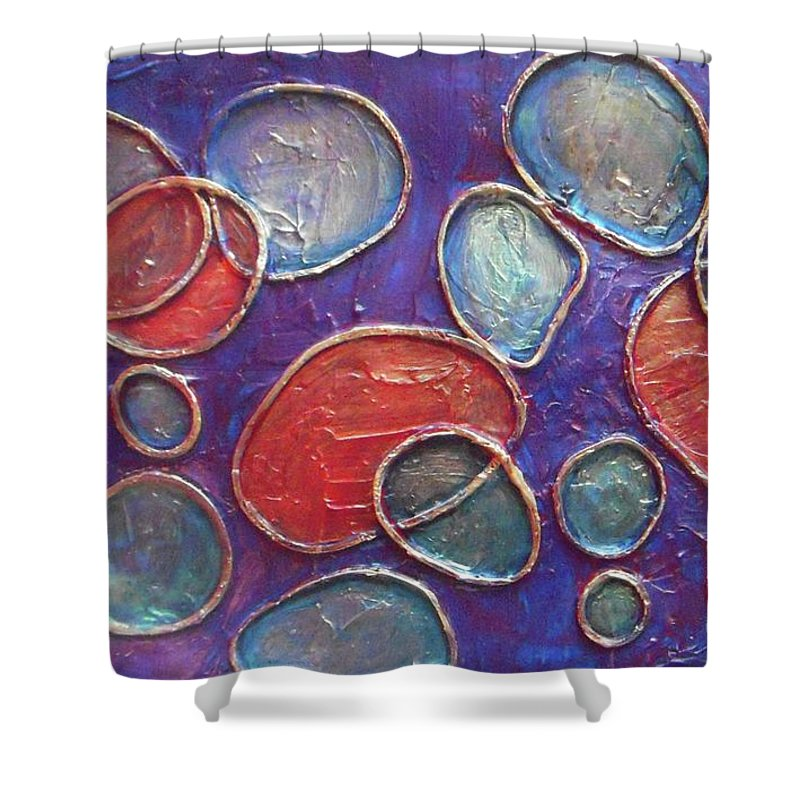 Circles Shower Curtain featuring the painting Happy Bubbles by Vesna Antic