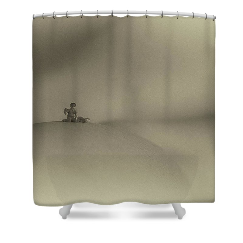 Sepia Shower Curtain featuring the photograph Happy Camper by George Hobbs