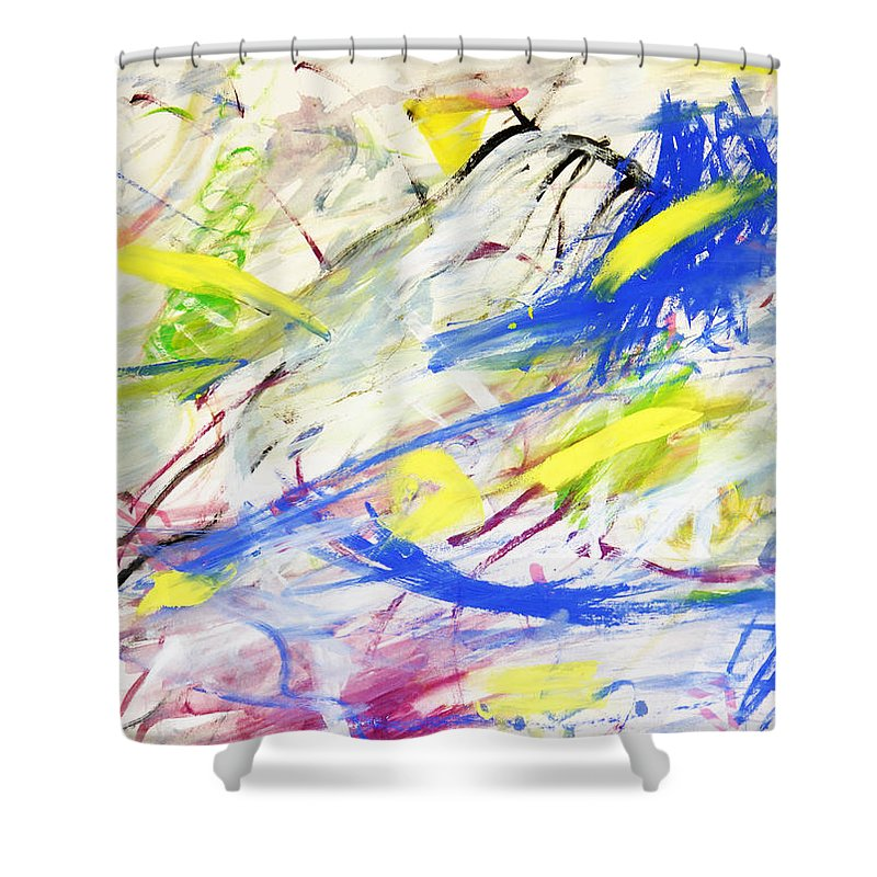 Abstract Shower Curtain featuring the painting Happy Chaos by Lee Serenethos
