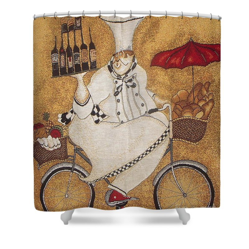 Chef Shower Curtain featuring the photograph Happy Chef On The Bike by Vesna Antic