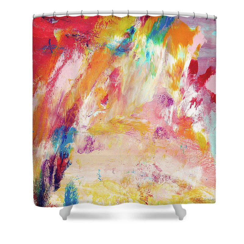 Abstract Painting Shower Curtain Featuring The Happy Day Art By Linda Woods
