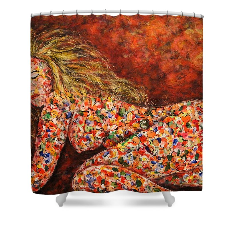 Sleeping Nude Shower Curtain featuring the painting Happy Dream by Natalie Holland