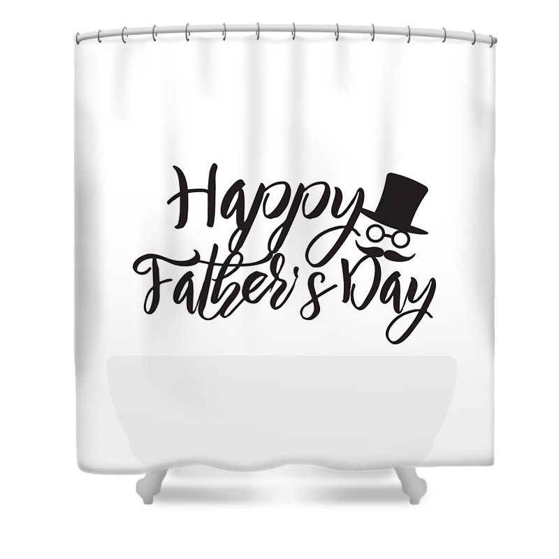 Happy Fathers Day Calligraphy Text Illustration Shower Curtain for ...