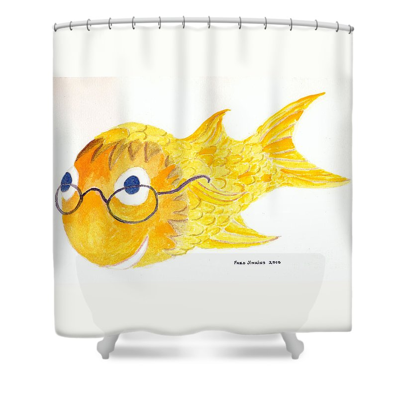 Glasses Shower Curtain featuring the painting Happy Fish With Glasses by Fred Jinkins