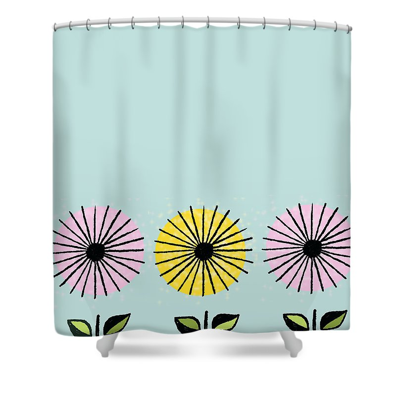 Happy Shower Curtain featuring the painting Happy Flowers by Little Bunny Sunshine