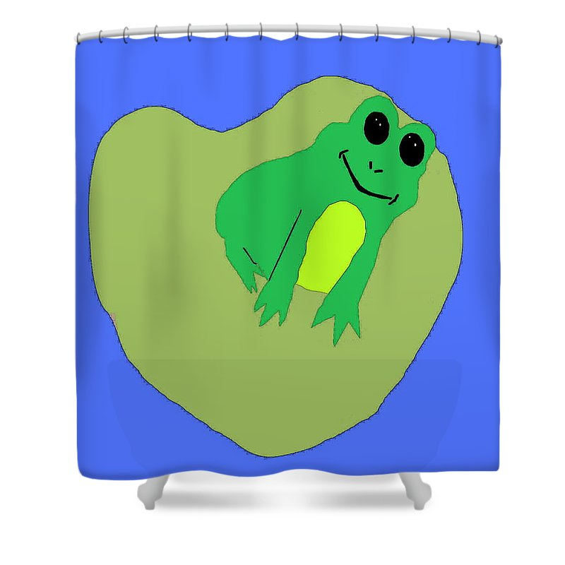 Frog Shower Curtain featuring the digital art Happy Frog by April Patterson