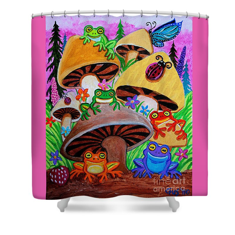 Frog Shower Curtain featuring the painting Happy Frog Valley by Nick Gustafson