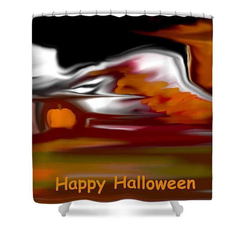 Abstract Digital Painting Shower Curtain featuring the digital art Happy Halloween by David Lane