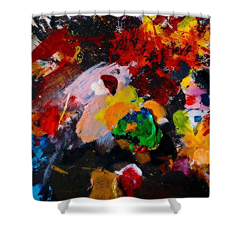 Abstract Shower Curtain featuring the painting Happy Harmony by Natalie Holland