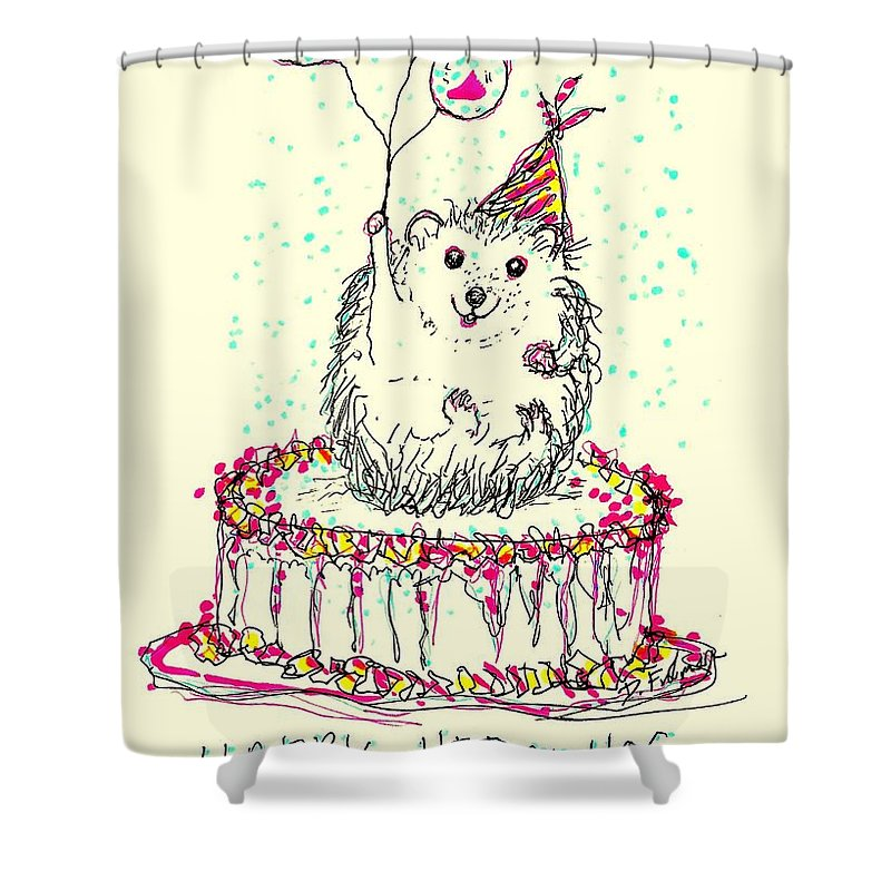 Happy Hedgehog Birthday Shower Curtain For Sale By Denise Fulmer