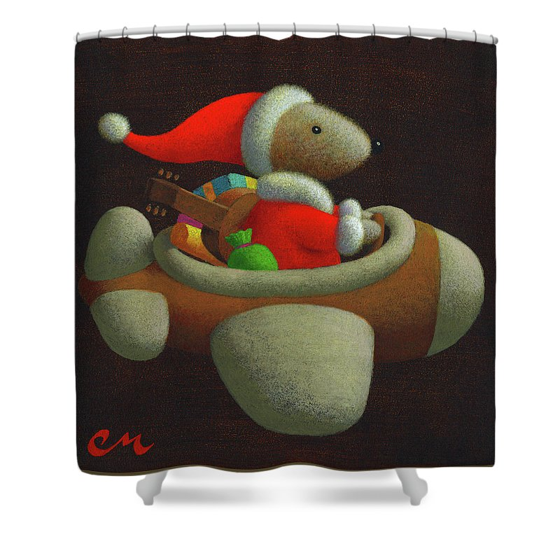 Christmas Shower Curtain featuring the painting Happy Holidays by Chris Miles