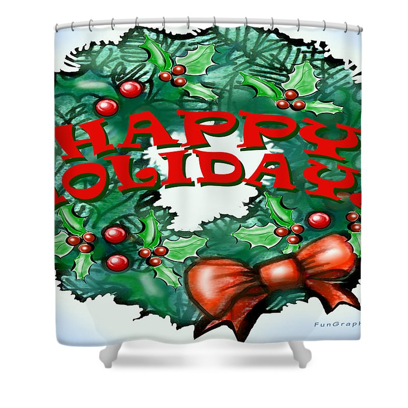 Happy Holidays Shower Curtain featuring the greeting card Happy Holidays by Kevin Middleton