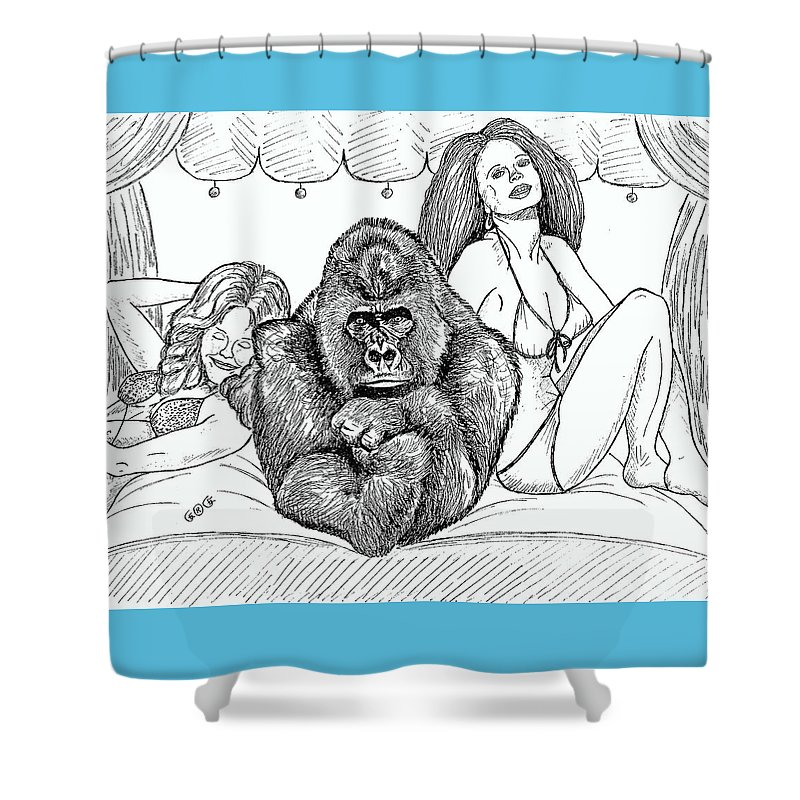 Drawings Shower Curtain featuring the drawing Happy Hour by George I Perez
