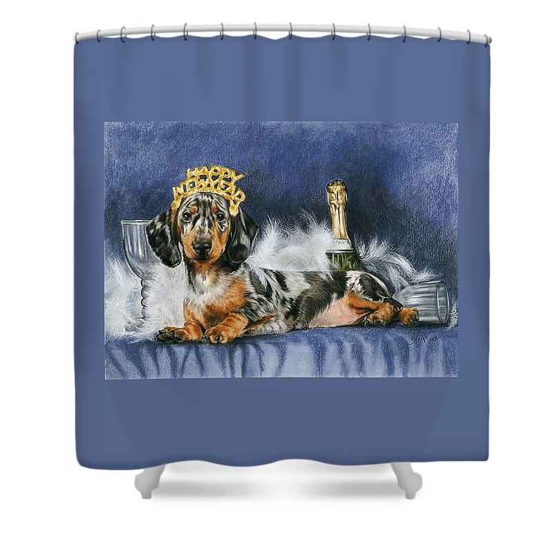 Dog Shower Curtain featuring the mixed media Happy New Year by Barbara Keith